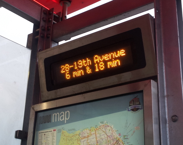 Example Muni sign showing the next 28 bus at this stop